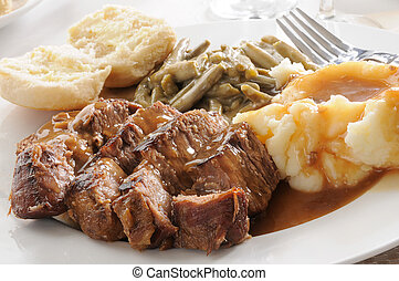 Succulent pot roast - Roast beef smoothered in mushroom...