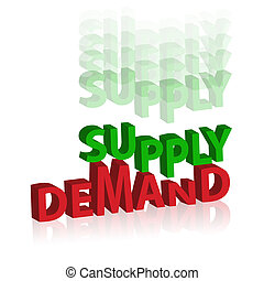 demand supply - business idea of word demand supply on white...
