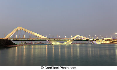 Sheikh Zayed Bridge at night, Abu Dhabi, United Arab...