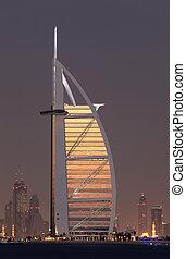 Burj al Arab illuminated at night, Dubai, United Arab Emirates
