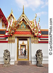 temple - decorated temple gable, Thailand