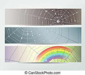 Spider web banners - Set of banners with spider web and...