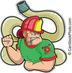 Fireman - Fireham with red hat and firehose