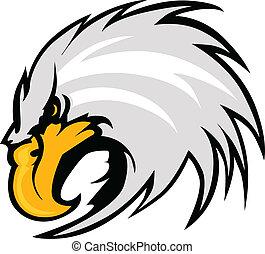 águia, mascote, cabeça, vetorial,...