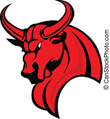 Mascot Bull Vector Cartoon Illustra - Bull Mascot Head...