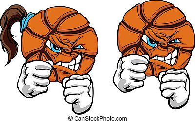 Fighting Basketball Ball Vector - Basketball Ball with Face...