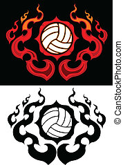 Volleyball with Flaming Border