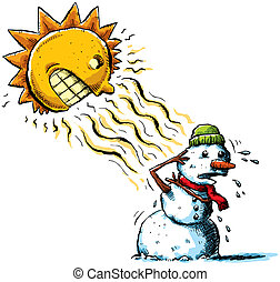 Sun vs Snowman - The sun attacks a snowman with rays of...