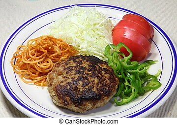 Hamburger steak - I took the photo such as vegetables and a...