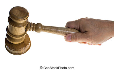 Hand gripping a gavel hitting a striker - A hand gripping a...