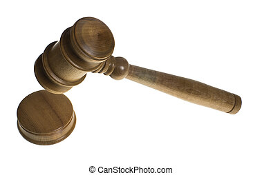 Wooden gavel and strike plate isolated - A wooden gavel and...