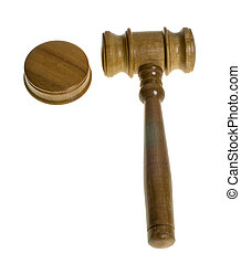 Wooden gavel resting beside a striker plate - A wooden gavel...