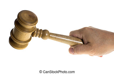 Hand gripping a wooden gavel - A hand is gripping a wooden...