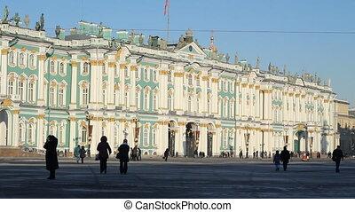 (pan) St Petersburg, The Hermitage Museum in winter