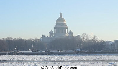 St Petersburg, St Isaac Cathedral and Neva river in winter