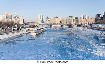 view on frozen Moscow river in sunny winter day on 29...