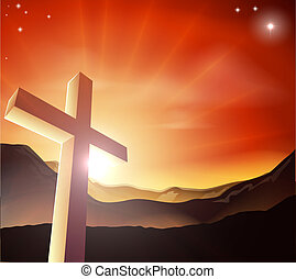 Easter cross concept - Sun rising behind the Cross over a...