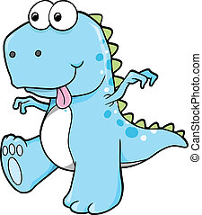Silly Goofy Blue Dinosaur T-Rex Vector