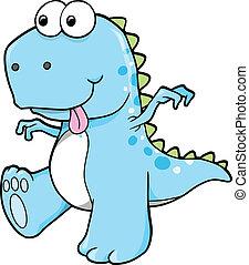 tonto, mentecato, azul, Dinosaurio, T-Rex