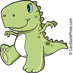 Cute Green Dinosaur T-Rex Vector