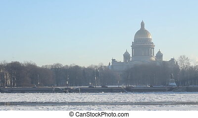 pan St Petersburg, St Isaac Cathedral and Neva river in...