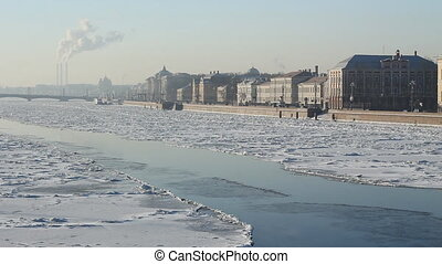 St Petersburg, Neva river in winter
