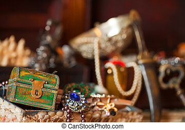 Treasure chests with jewellery - Closeup of Treasure chests...