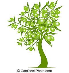 verde, oliva, albero