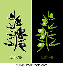 Black and green olives - Silhouette of black and green...