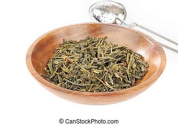 China Sencha Tea - Whole leaf organic China Sencha tea in a...
