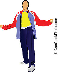 Young man in a tracksuit. Vector illustration on white...