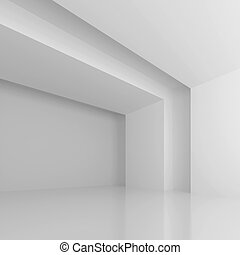 White Futuristic Hall - 3d Illustration of White Futuristic...