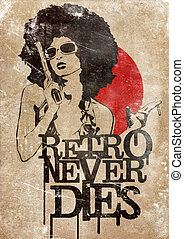 Retro Never Dies - Illustration of a dangerous retro girl...
