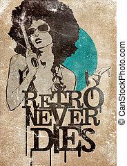 Retro Never Dies! - Illustration of a dangerous retro girl...