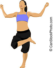 Woman practicing Yoga excercise. girl in Dancer's Pose...
