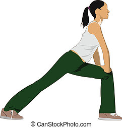 Woman practicing Yoga exercises. V