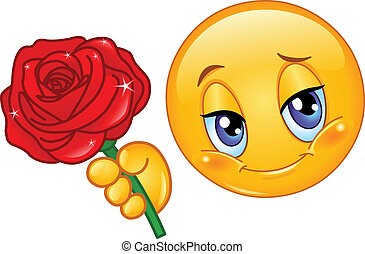 Emoticon with rose - Emoticon giving a red rose