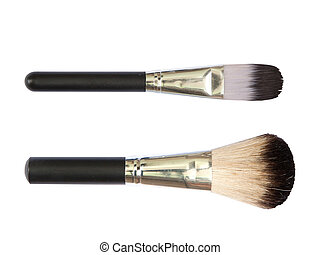 Professional make up brushes on white background - 2 of...