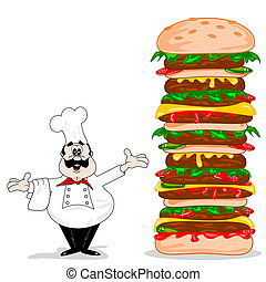 A cartoon chef with cheeseburger - A cartoon chef with a...