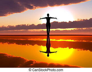 Woman welcoming the sunrise - Female silhouette reaching out...
