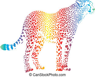 Abstract rainbow cheetah - cheetah with rainbow smokescreen...