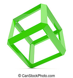 Green Cube - 3d Illustration of Abstract Cube Isolated on...