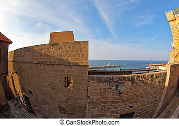 Ancient port in December day - The ancient small city Jaffo...