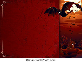 Poster with Halloween Scene - Halloween background with...