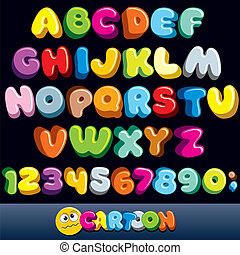 Funny Comics Font. Vector Cartoon Alphabet with All Letters...