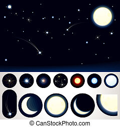 Customizable Night Sky, Collection of Stars, Moons and other...