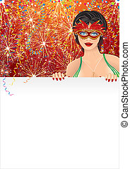 Carnival Girl - Beautiful Carnival Girl with Blank Poster,...
