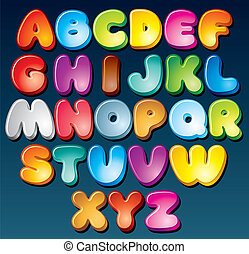 Funky Font - Multicolored Cartoon Vector Font, Set of...