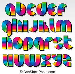 Retro Rainbow Font - Multicolored Rainbow Font, isolated...