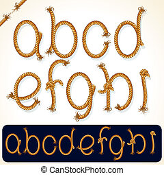 Rope Alphabet 1 - Detailed Rope alphabet for your text or...